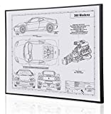 Ferrari 360 Modena Blueprint Artwork-Laser Marked & Personalized-The Perfect Ferrari Gifts