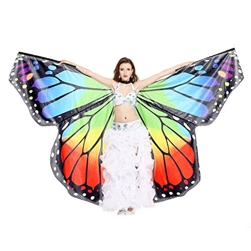 [Dance Fairy Belly Dance Butterfly Angel Isis Wings with Flexible Sticks(Rainbow)] (Cabaret Belly Dancing Costumes)