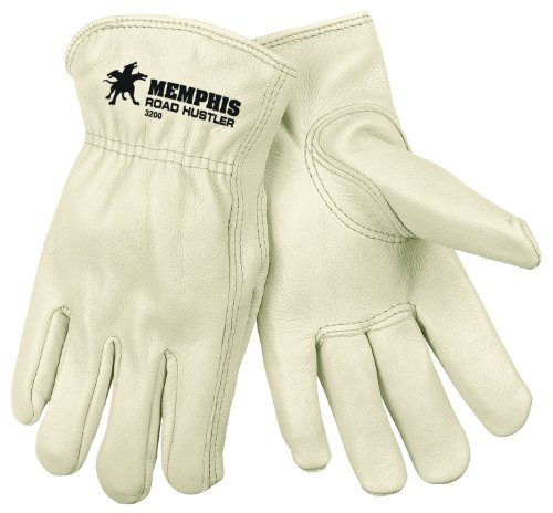 MCR Safety 3200S Grain Cow Full Leather Driver Premium Grade Gloves with Keystone Thumb and Self-Hemmed, Cream, Small, 1-Pair