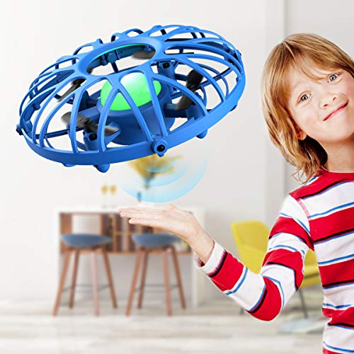EACHINE UFO Flying Ball Drone for Kids, E111 Blue Hand Operated Induction Levitation UFO Mini Drone Easy Play Indoor and Outdoor Scoot Hover Drone Helicopter Toy for Kids Boys and Girls 6-12 Years
