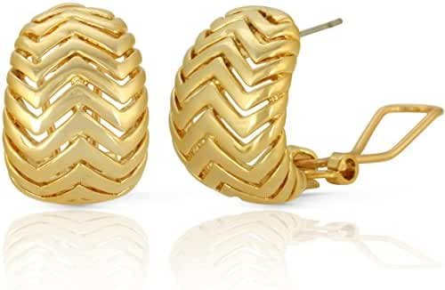 JanKuo Jewelry Gold Plated Chevron Pattern French Clip Earrings