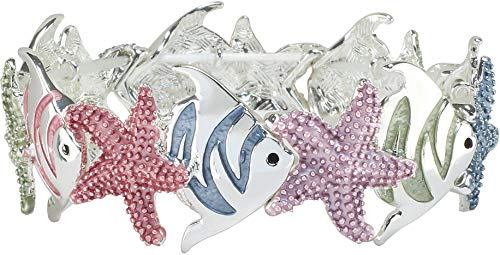 PIPER MADISON Starfish & Fish Stretch Bracelet One Size Silver Tone Multi