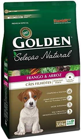Ração Golden Seleção Natural para Cães Filhote Raças Pequenas Sabor Frango e Arroz, 3kg Premier Pet Para Todas Grande Filhotes,