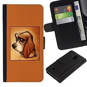 Paccase / Billetera de Cuero Caso del tirón Titular de la tarjeta Carcasa Funda para - cute puppy dog dachshund brown sad - Samsung Galaxy S5 Mini, SM-G800, NOT S5 REGULAR!