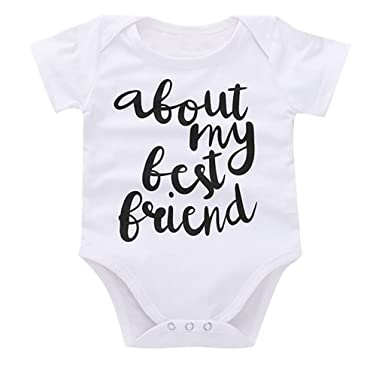 5a4210e302439 Amazon.com: Halfbye 0-24 Months Newborn Infant Baby Kids Girl Boy Letter  Print Romper Sunsuit Outfits Clothes: Clothing