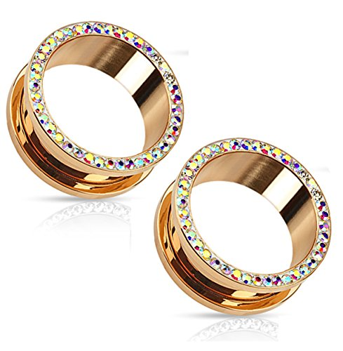 Rose Gold Plated Aurora Borealis Crystals Screw Fit Tunnels, Ear Plugs Gauges - 13 Sizes Available - Sold As Pair (8mm - 0GA) by Pierced Owl (Image #1)