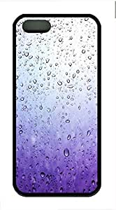 Purple Glass Drops Cover Case Skin for iPhone 5 5S Soft TPU Black