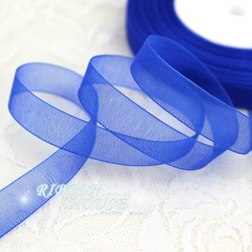 (FunnyPicker (50 Yards/Roll) 1/2''(12Mm) Organza Ribbons Wholesale Gift Wrapping Decoration Christmas Ribbons Royal Blue)