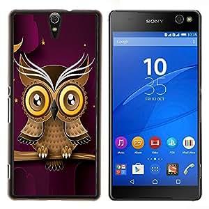 EJOOY---Cubierta de la caja de protección para la piel dura ** Sony Xperia C5 Ultra ** --Búho púrpura elegante diseño moderno y minimalista