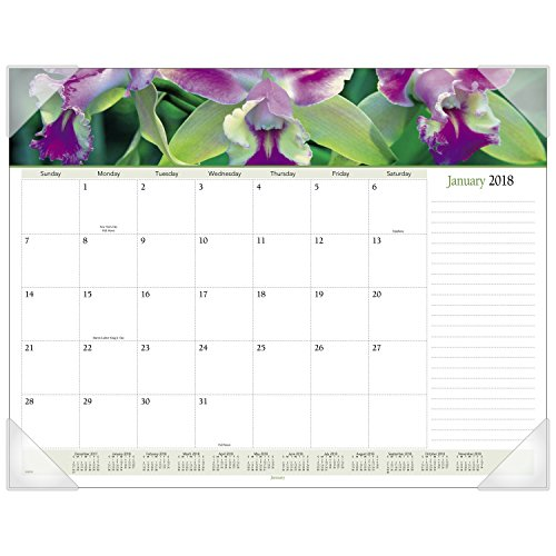 "AT-A-GLANCE Monthly Desk Pad Calendar, January 2018 - December 2018, 22"" x 17"", Panoramic, Floral (89805)"