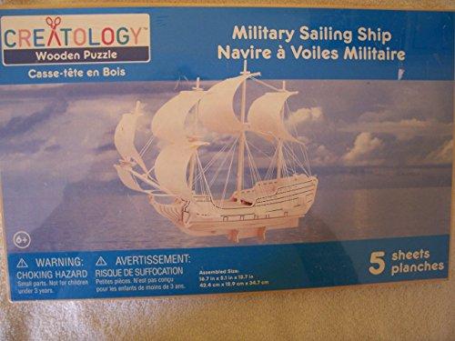 Creatology Wooden Puzzle: Military Sailing Ship 3-D Wood Puzzle by Creatology - Sailing Ship Wood