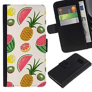iKiki Tech / Cartera Funda Carcasa - Pineapple Fruit Painted Drawing - Samsung Galaxy S6 SM-G920
