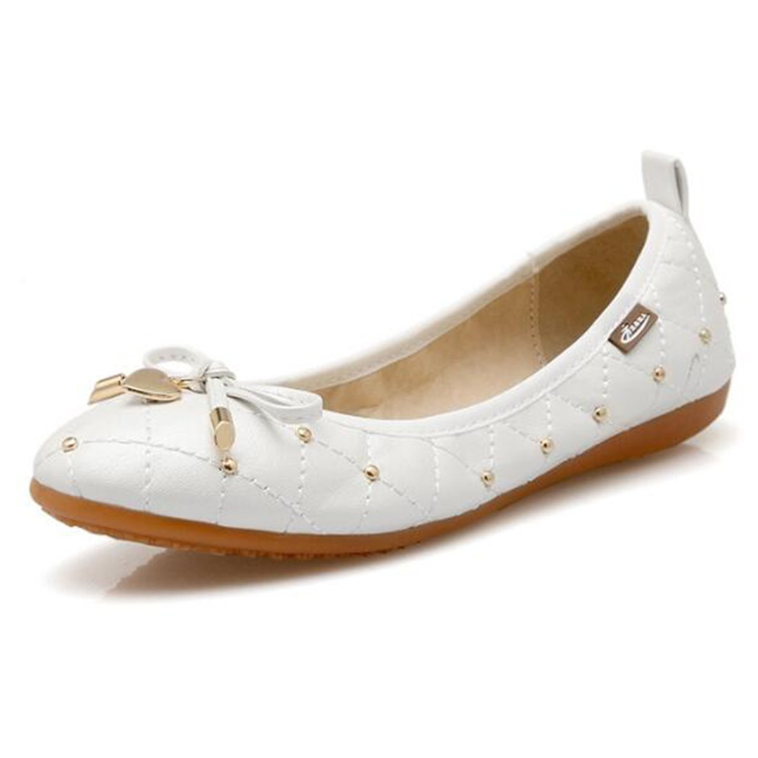 COVOYYAR Women's Bow Metal Decor Low Top Ballet Flats Slip On Casual Shoes Loafers