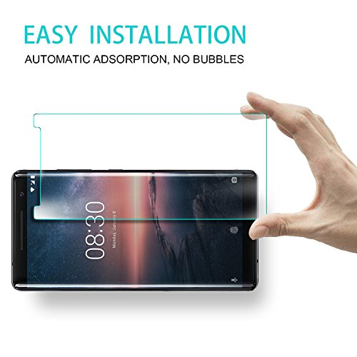 Nokia 8 Sirocco Screen Protector, KuGi 9H Hardness HD Clear Bubble Free  Installation High Responsivity Tempered Glass Screen Protector for Nokia 8