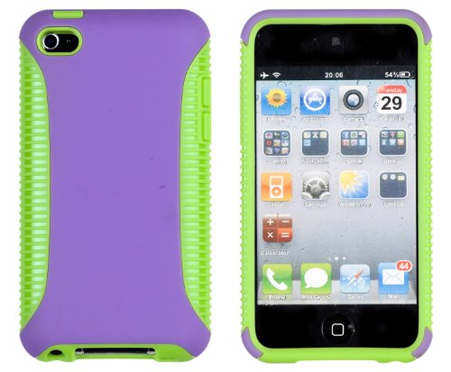 Body Armor 2-Piece Case for Apple iPod Touch 4G (4th Generation) - Includes 24/7 Cases Microfiber Cleaning Cloth [Retail Packaging by DandyCase] (Purple & Lime Green)