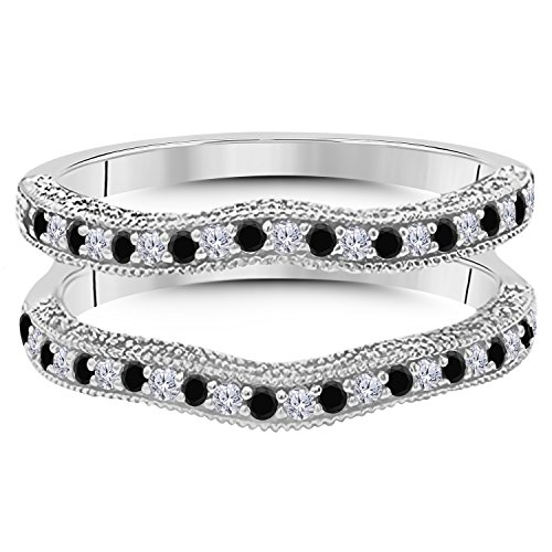 14K Gold Plated Alloy 0.50ct Created Black Sapphire & White Simulated Diamond Ring Solitaire Enhancer Guard Wrap For Women's Free Size 4 to 13