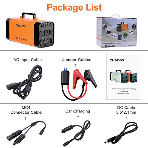 346WH Portable UPS Battery Backup Generator,Rechargeable Power Source Inverter with 110V/500W AC Outlet,12V Car,USB Output,Car Jump Starter for Camping -Orange by CHAFON (Image #6)