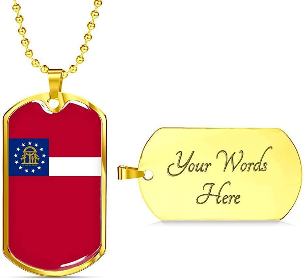 Georgia Flag Handmade Pendant Necklace Stainless Steel or 18k Gold Dog Tag w 24