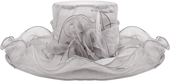 Tensay Damen Spitze Mesh Hut Organza Kirche Kentucky Derby Sommer Hut Faltbarer Elegante Blumen Organzahut Anti-UV Sonnenh/üte Breite Krempe Strandhut Damenhut f/ür Hochzeit Tea Kirche Party