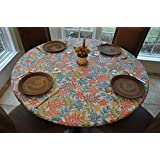 Elastic Edged Flannel Backed Vinyl Fitted Table Cover BOTANICAL PATTERN - Large Round - Fits tables 45