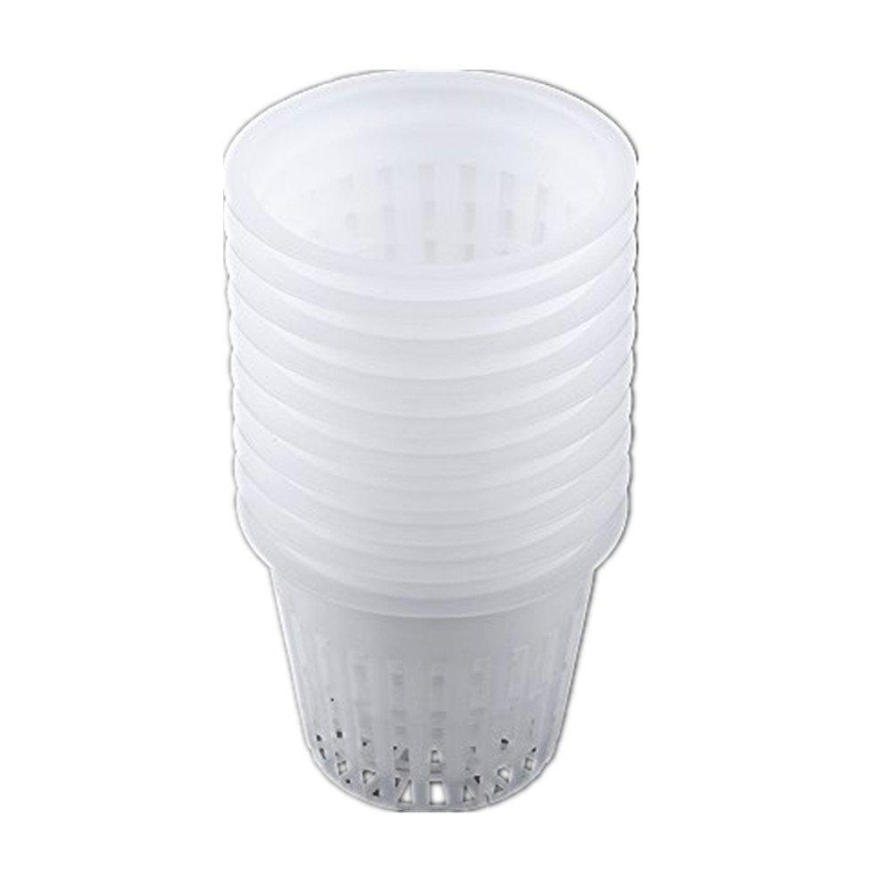 10pcs Hydroponics Mesh Net Pots Plastic Heavy Duty Hydroponic Planting Baskets Plant Grow Clone Accessories(White)