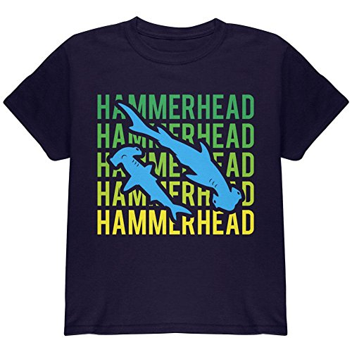 (Hammerhead Shark Stacked Repeat Youth T Shirt Navy YLG)