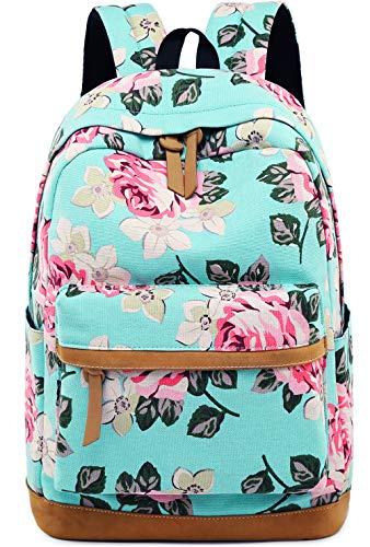 BLUBOON Canvas School Backpack Teen Girls Bookbag Women Travel Laptop Daypack (A001- Floral Blue)