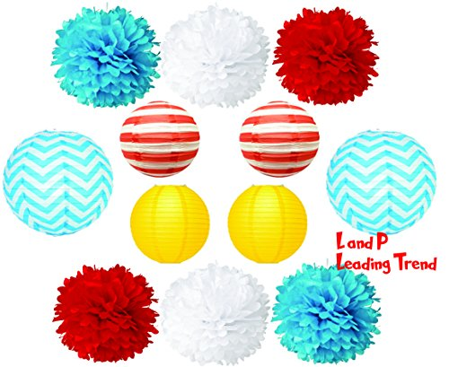 Charmed Tissue POM POMS and LANTERNS Bundle for Wedding birthday Party Baby Girl boy Nursery Room Decoration (Dr Seuss inspired theme) -