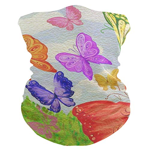 SLHFPX Butterfly Watercolor Headband WoBandana Balaclava,Neck Warmer,Face Mask,Neckerchief Hatliner ()