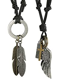 FUNRUN 2PCS Leather Necklace for Men Women Vintage...