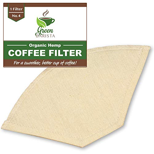 Reusable Pour Over Coffee Filter No 4 - Cone Coffee Filters for Drip Coffee Makers - Organic Hemp Cloth Strainer for Making a Sm