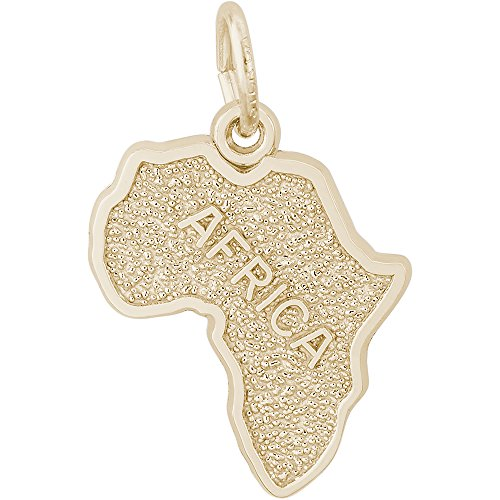 Rembrandt Charms 10K Yellow Gold Africa Map Charm on a 10K Gold Rope Chain Necklace, 16'' by Rembrandt Charms