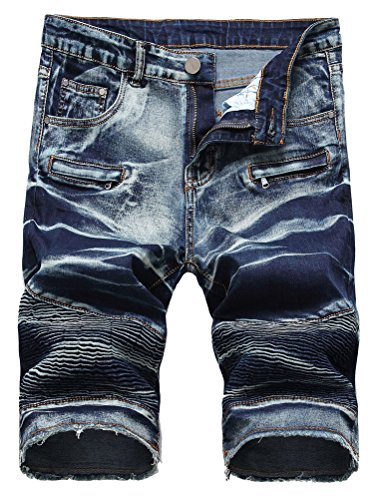 Lavnis Men's Casual Denim Shorts Classic Fit Ripped Jeans Biker Shorts 32 by Lavnis