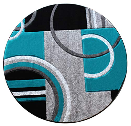 Masada Rugs Sophia Collection Hand Carved Round Area Rug Modern Contemporary Turquoise Gray Black (5 Feet 3 Inch X 5 Feet 3 Inch) Round