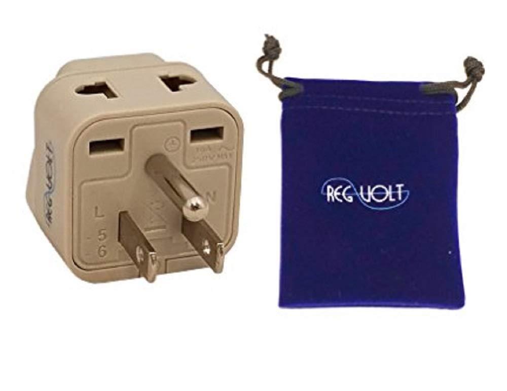 REGVOLT Grounded Universal Socket 2 in 1 Plug Adapter Type B Max Capacity Up to 3000 Watt