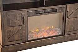 "Oliver and Smith - Indoor Dark Brown Antique Farm Door Fireplace - Fireplace with Fireplace insert - 60"" W x 15"" D x 36"" H Entertainment System - Aspen 1 from Superior Importers Company"