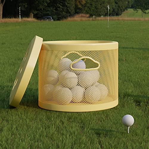 ONENOE Modern Metal Golf Ball Basket with Lid, Golf Ball Bucket, Yellow, 1 Pack