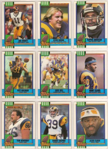 St Louis Rams 1990 Topps Football Team Set (Los Angeles) (Jim Everett) (Kevin Greene) (Flipper Anderson) (Pete Holohan) (Greg Bell) (Henry Ellard) (Tom Newberry) (Jackie Slater)and - Newberry Boston
