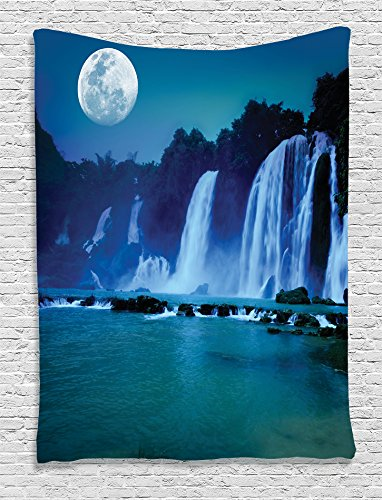 Lake Grove Satin - Ambesonne Waterfall Decor Collection, Waterfall Under Moonlight Full Moon Nature Night Print, Bedroom Living Kids Girls Boys Room Dorm Accessories Wall Hanging Tapestry, Navy Blue Dark Turquoise