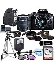 Canon EOS 2000D / Rebel T7 DSLR Camera with EF-S 18-55mm Zoom Lens + SanDisk 32GB Memory Card + Tripod + Case + Wideangle Lenses + Rtech Digital Cloth (20pc Bundle)
