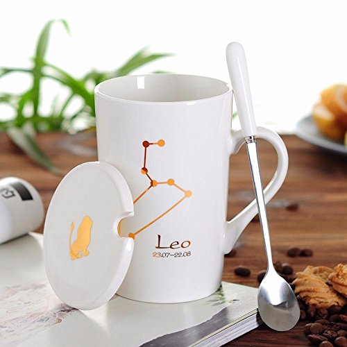 WU-Mug Creative 12 Constellation Cup Ceramic mug of water bowl with lid spoon bone china couples coffee cup tea cup, Leo Cup