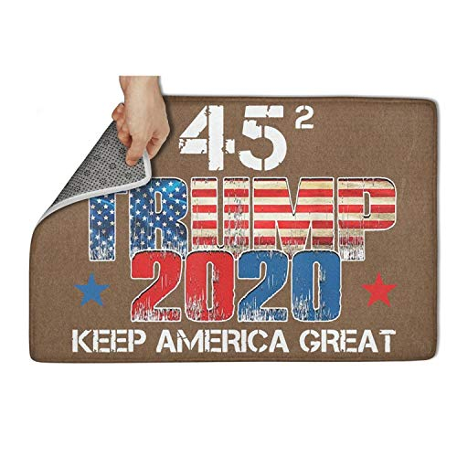 "LONGPOIIEQC 23.5""x15.5"" Inch Door Mats Non-Slip Trump 45 Squared Keep America Great Water Absorbing Bathroom Durable Custom Vintage Easy Clean Cat Front Welcome Entrance Rugs"
