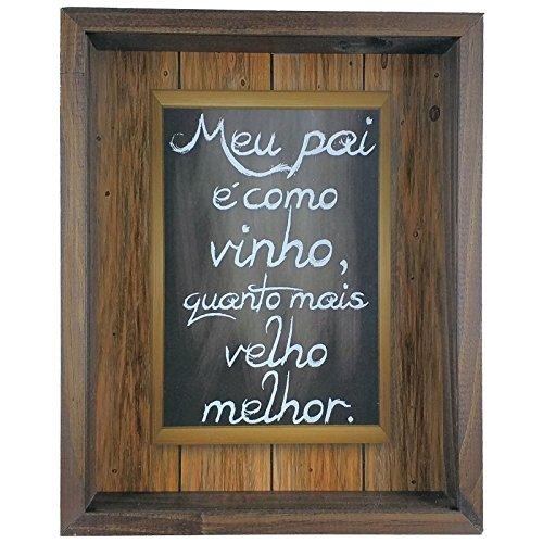 Quadro Porta Rolhas de Vinho Madeira e Vidro Dias dos Pais Ref. 809 - ArtFrame