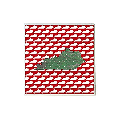 Green Kentucky on Red White KY Shapes Coaster