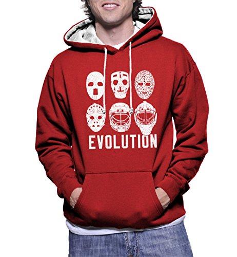 Men's Evolution of Goalie Masks Two Tone Hoodie Sweatshirt (Red/White Strings, Small)]()