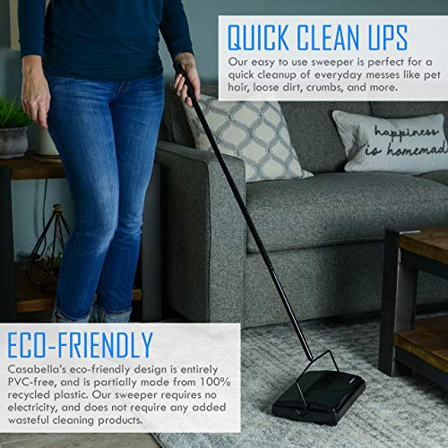 "Casabella Carpet Sweeper 11"" Electrostatic Floor Cleaner - Black"