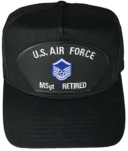 Air Force Insignia Cap (US AIR FORCE MASTER SERGEANT MSgt RETIRED with INSIGNIA PATCH HAT - Black - Veteran Owned Business)