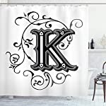 Ambesonne Letter K Shower Curtain, Uppercase K with a Design from Medieval Times Letter Sign Alphabet Pattern, Cloth Fabric Bathroom Decor Set with Hooks