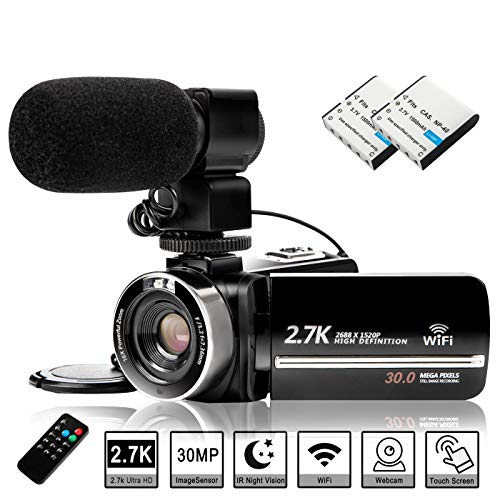 Video Camera Camcorder with Rechargeable Microphone, FHD 2.7K 30FPS 30MP Vlogging Camera for YouTube, 16X Digital Zoom 3.0 in Touch Screen IR Night Vision Recorder with Remote Control & 2 Batteries