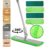 Microfiber Mop Hardwood Floor Cleaning - Washable Pads Perfect for Wood, Laminate & Tile - 360 Professional Dry Wet Reusable Dust Mops with Refill Pads & Hard Handle for Kitchen, Walls, Vinyl, Garage
